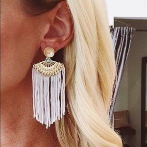 Betsy Pittard White Fringe Earrings.. $25
